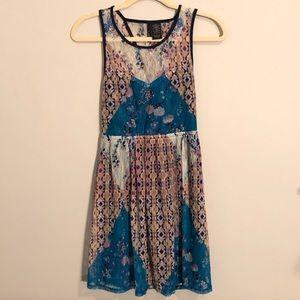 Floral A-Line Print Lace Colorblock Backless Dress
